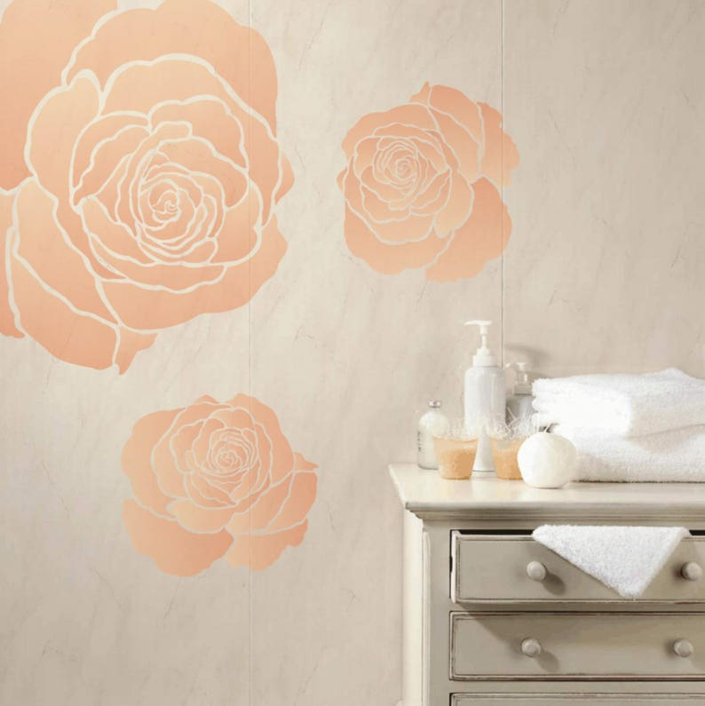 Large Rose Wall Stencil Flower Stencil Furniture Stencil Etsy