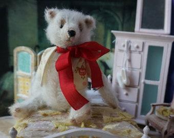"""OOAK Artist Bear - OLIVER - 6"""" Tall White German Mohair Collectible Teddy Bear Polar Bear"""