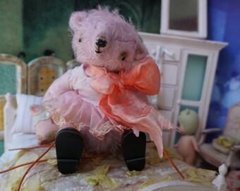 "OOAK Artist Bear -  SQUEAK- 5"" Tall Soft Lilac German Mohair Collectible Teddy Bear"