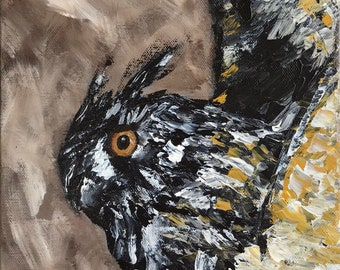 Owl Painting - Contemporary Expressionism Bird Painting - Small Wall Decor - Modern Home - Bird Art - Owl in Flight Picture - Impressionism