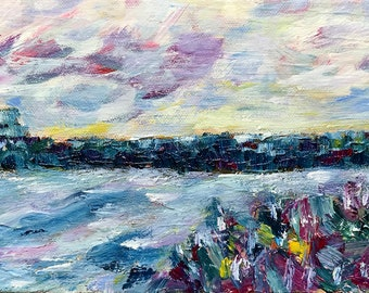 Small Landscape Painting - Modern Impressionist Nature Art - River Painting - Colorful Art for Contemporary Home - Mountains Sky River Art