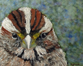 Bird Painting - Sparrow Portrait - Acrylic on Canvas - Contemporary Songbird Art - Modern Wall Decor - Colorful Bird Fine Art - Bird Decor