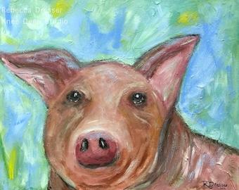 Colorful Pig Painting - 16x20 Original Acrylic on Canvas - Contemporary Wall Decor - Animal Art - Modern Home Decor - Farm Animal Art