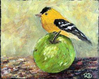 Goldfinch and Apple Painting - Acrylic on Canvas - Bird Painting - Small Wall Decor - Kitchen Art - Bird Art - Colorful Bird on Canvas