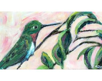 Hummingbird Painting - Expressionist Contemporary Bird Art - Nature Painting - Modern Bird Decor - Hummingbird Wall Art - Impressionist Art