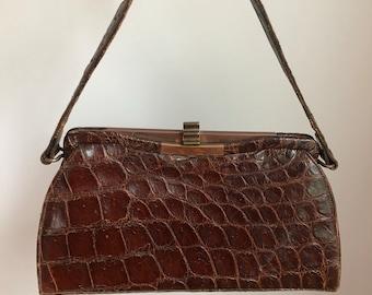 c6140bddd6 Vintage 1940 s Genuine Brown Alligator Purse Handbag