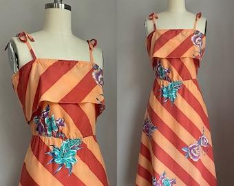 Vintage 1970's Pumpkin Spice Stripe snd Floral Dress Size Medium