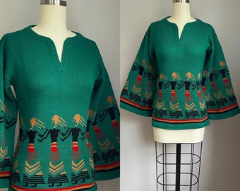 Vintage 1970's Ladies Sisters Bell Sleeve Novelty Sweater XS Small
