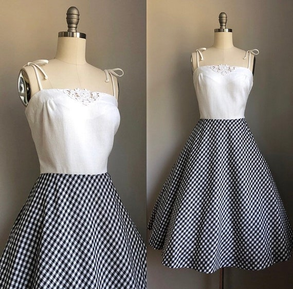 Vintage 1970's does 1950's Black and White Gingham