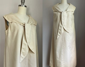 Vintage 1960's Pale Khaki Cotton Tie Scarf Maternity Dress Small Medium