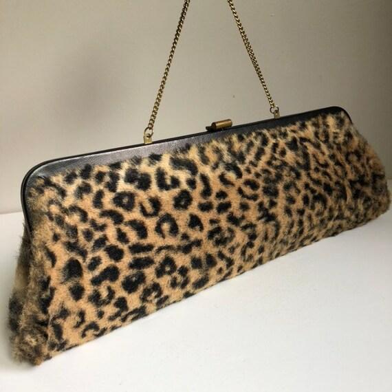 Vintage 1950's Faux Leopard Fur Convertible Clutch