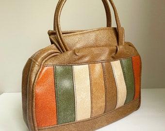 Vintage 1970's Faux Leather Autumn Stripe Purse Handbag