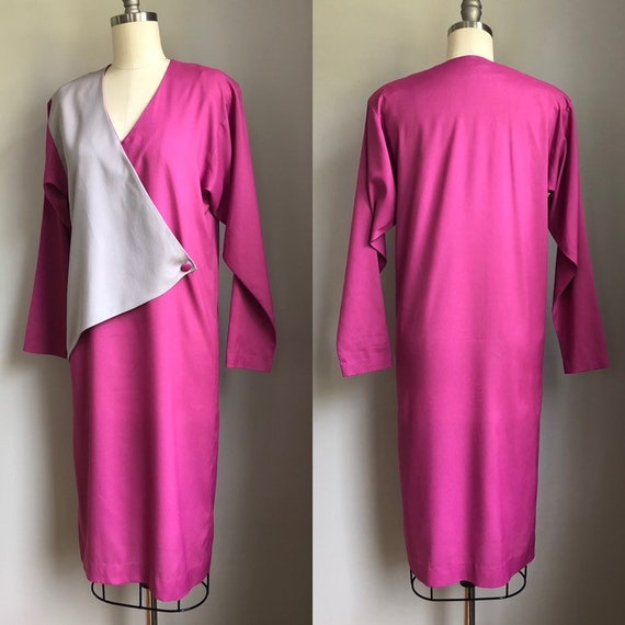 Vintage 1970's does 1940's Color Block Dress Size… - image 4