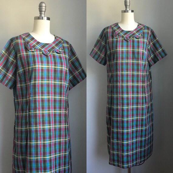 Vintage 1960's Rainbow Plaid Day Dress with pocket