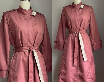 Vintage 1970's Muted Mauve and Cream Belted Trench Coat Size XS Small