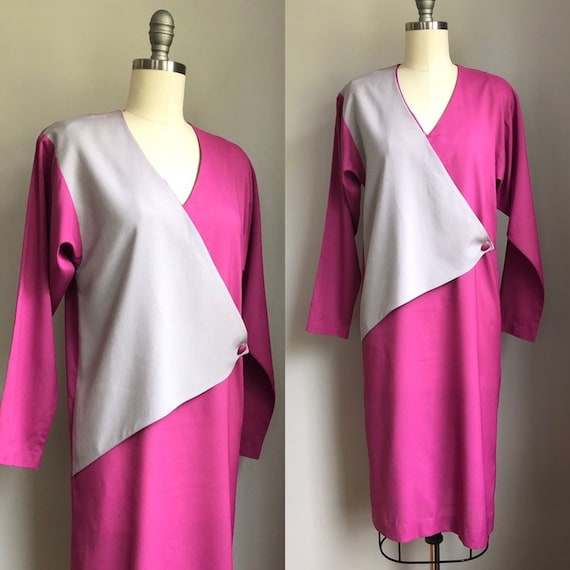Vintage 1970's does 1940's Color Block Dress Size