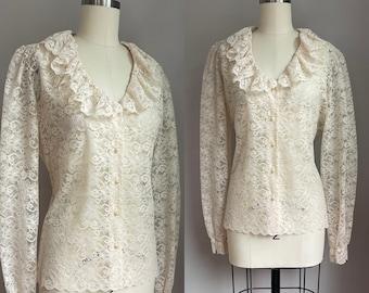 Vintage 1970's Ruffled Cream See Thru Lace Blouse Size Medium