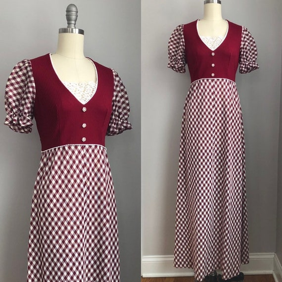 Vintage 1970's Gingham Puff Sleeve Maxi Dress Size