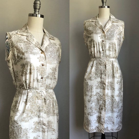 Vintage 1950's Cream and Gold Toile Print Dress wi
