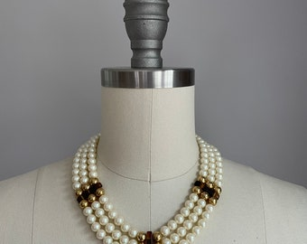 Vintage 1980's Triple Strand Faux Pearl and Tortoiseshell Necklace