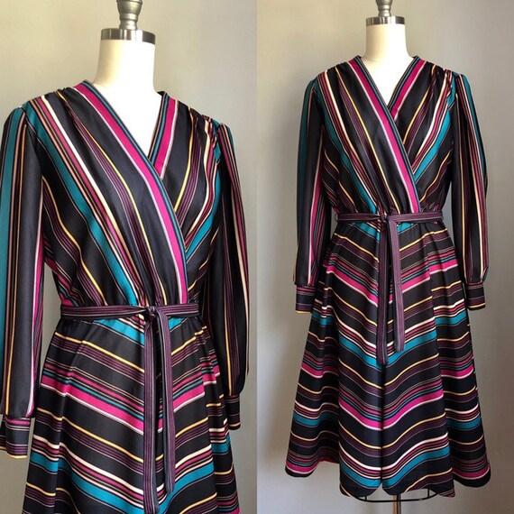 Vintage 1970's Rainbow Chevron Stripe Dress Size M
