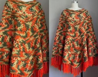 Vintage 1970's Bohemian Autumn Fringed Poncho Cape Medium Large XL