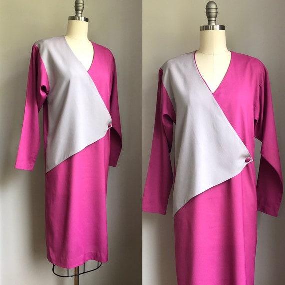 Vintage 1970's does 1940's Color Block Dress Size… - image 3