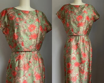 Chic Vintage 1960's Silk Poppies Dress Size Small