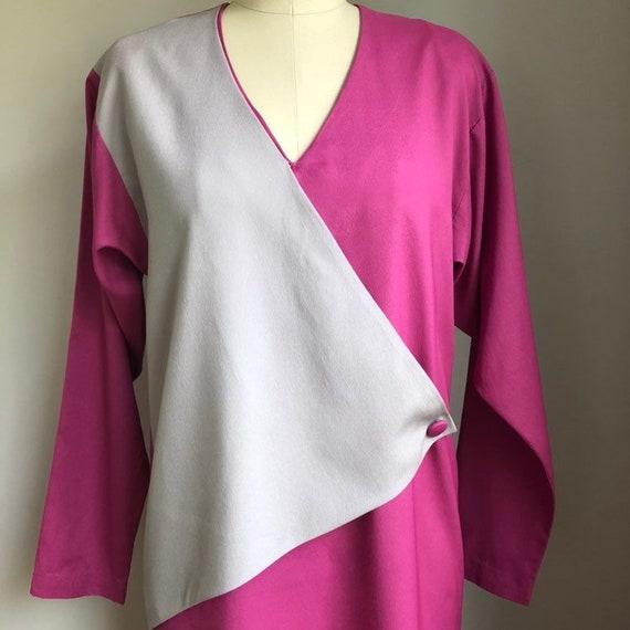 Vintage 1970's does 1940's Color Block Dress Size… - image 2