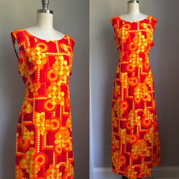 Vintage Mod 1960's Polkadot Maxi Dress Hawaii Size