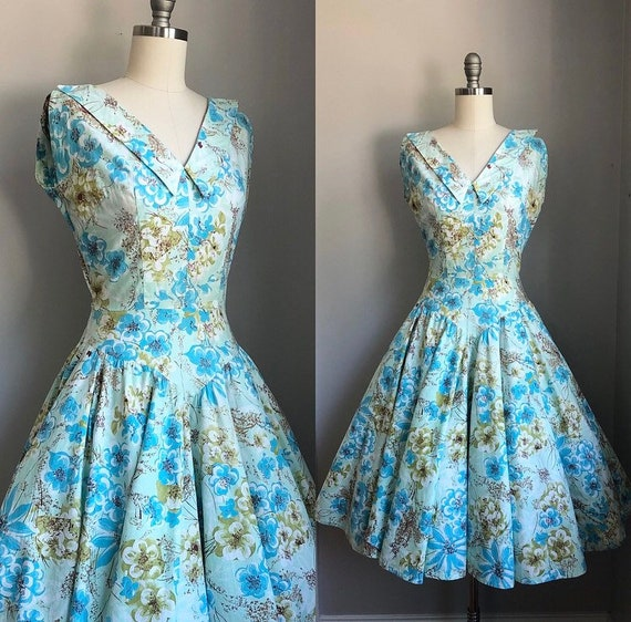 Vintage 1950's Blue and Green Floral California Co