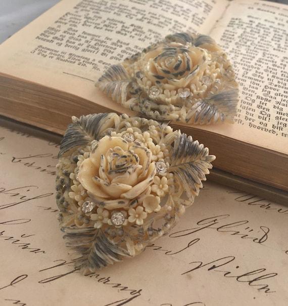 Victorian Celluloid Rose & Rhinestone Buckle - image 4