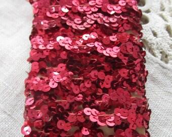 Metallic Red Sequin Ric Rac Trim