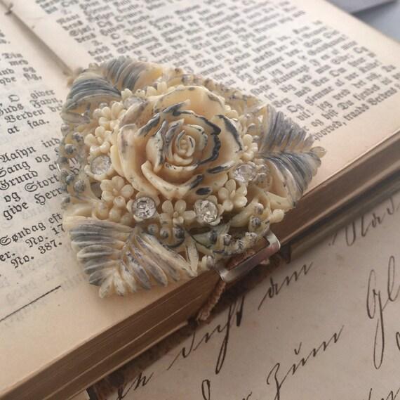 Victorian Celluloid Rose & Rhinestone Buckle - image 5