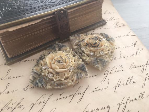 Victorian Celluloid Rose & Rhinestone Buckle - image 9