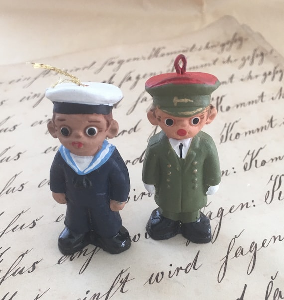 Whimsical Handpainted Army Navy Ornaments Etsy