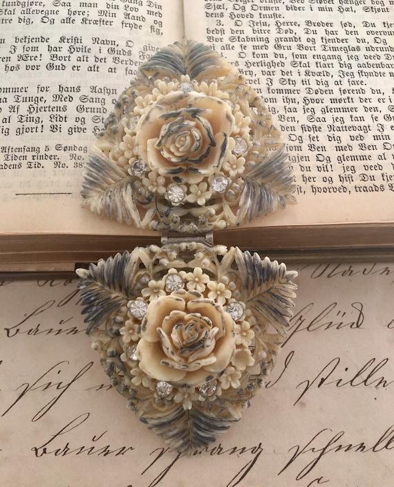 Victorian Celluloid Rose & Rhinestone Buckle - image 3