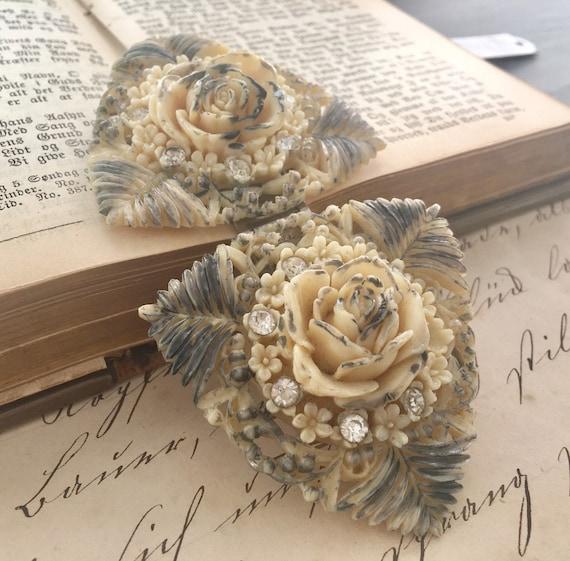 Victorian Celluloid Rose & Rhinestone Buckle - image 2