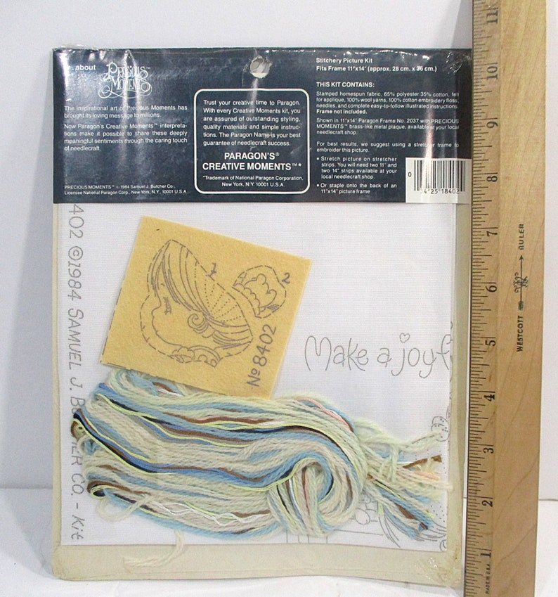 Make A Joyful Noise Blue Cream Precious Moments Craft Picture Sealed 1984 Vintage Paragon Stitchery Kit Free Shipping Cat Girl Piano