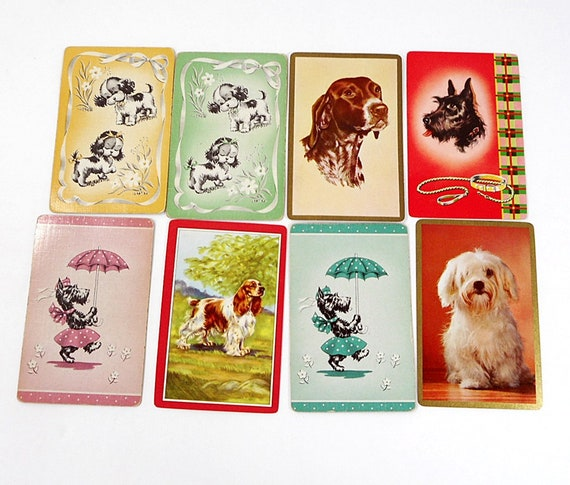 2 Single VINTAGE Swap//Playing Cards POODLE DACHSHUND DOGS Orange//Blue