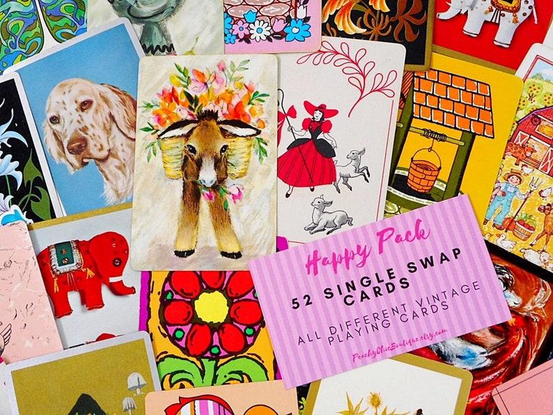 52 Vintage Playing Cards Mixed Lot Swap Crafting Paper Ephemera Junk Journal Cards Craft Supplies Free Shipping