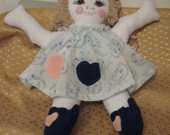 Rag/ Girl Doll with Hand Embroidered Face