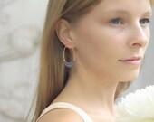Hoop Earrings | Grey Weaving Jewelry | Handmade Earrings | Everyday Earrings | Casual Jewelry | Gold Plated Earrings | Long Earrings