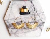Fan Earrings | Dangle Earrings | Gold Plated Earrings | Hoop Earrings | Everyday Jewelry | Minimalist Earrings | Statement Earrings