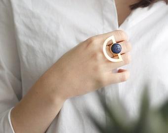 Lapis Lazuli Ring | Adjustable Ring | Handmade | Gold Plated Ring | Geometric Ring | Gemstone Ring | Druzy Jewelry | Round Stone Ring