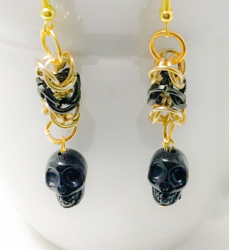 Box Weave Chainmaille and Skull Dangle Earrings image 0