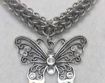 Silver Graduated Persian Weave Stainless Steel Necklace with Butterfly Pendant