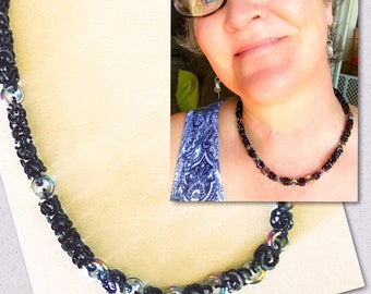 Chainmaille Chainmail Byzantine Handmade Necklace with Glass Rings