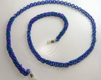 Purple and Teal Anodized Aluminum Chainmaille Eyeglass Chain
