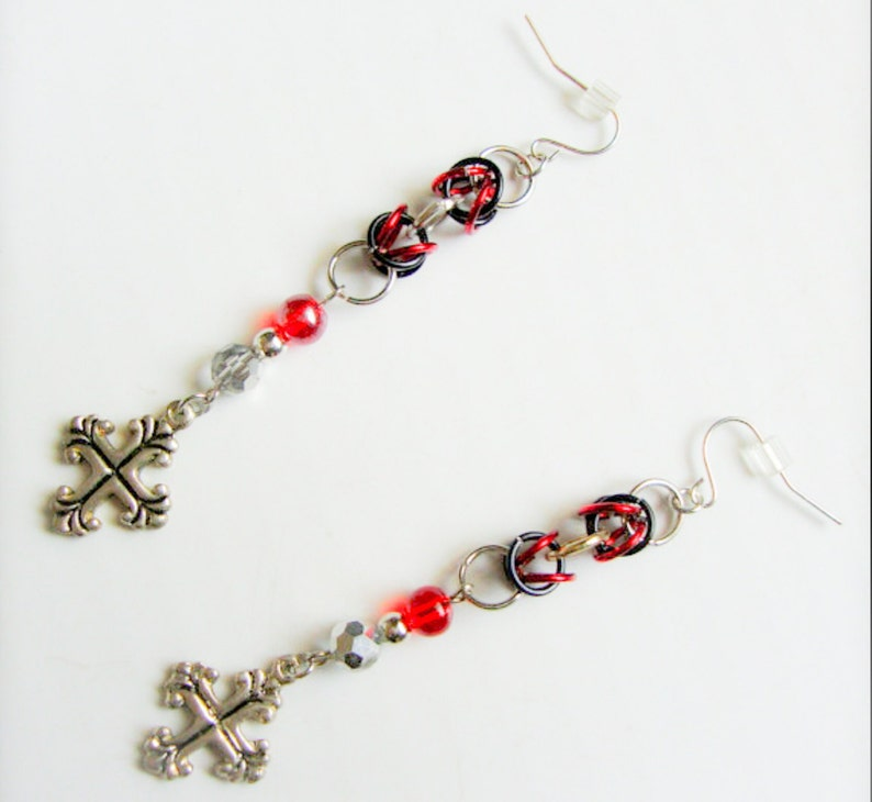 Black Red and Silver Cross Dangle Earrings image 0